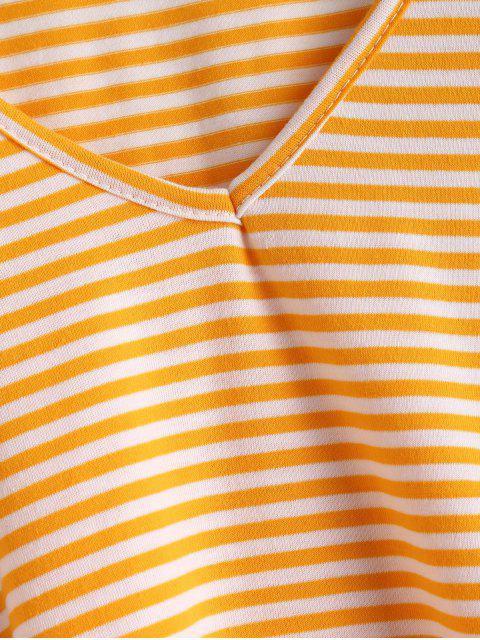online V Neck Striped Tee - BEE YELLOW L Mobile