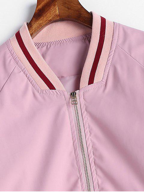 Veste Panneau Rayé en Tricot - Rose Cochon L Mobile