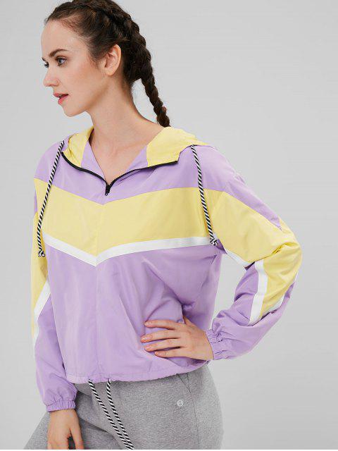 affordable ZAFUL Contrasting Color Hooded Zip Up Jacket - PURPLE L Mobile