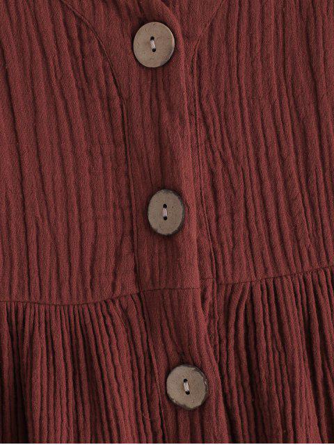 trendy Cami Button Through Woven Midi Dress - MAROON M Mobile