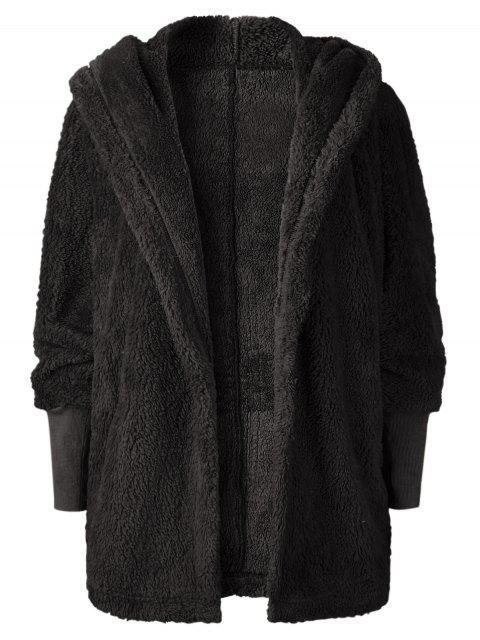 latest Oversize Open Front Furry Coat - BLACK M Mobile
