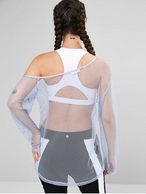 women's ZAFUL Fishnet Skew Neck T-shirt - PASTEL BLUE M Mobile