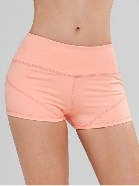 sale ZAFUL Stretchy Sports Gym Shorts - ORANGE PINK L Mobile