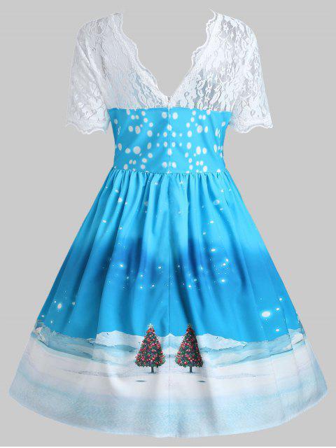Vestido de encaje vintage con estampado de Santa Claus de Navidad - Azul 2XL Mobile