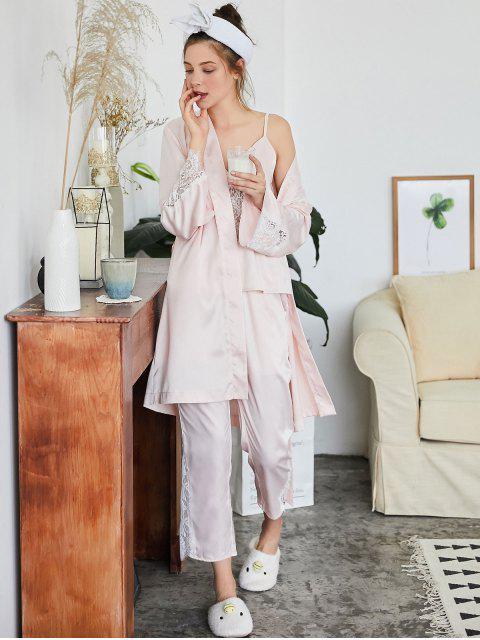 shop Belted Lace Panel Pajamas Set - LIGHT PINK L Mobile