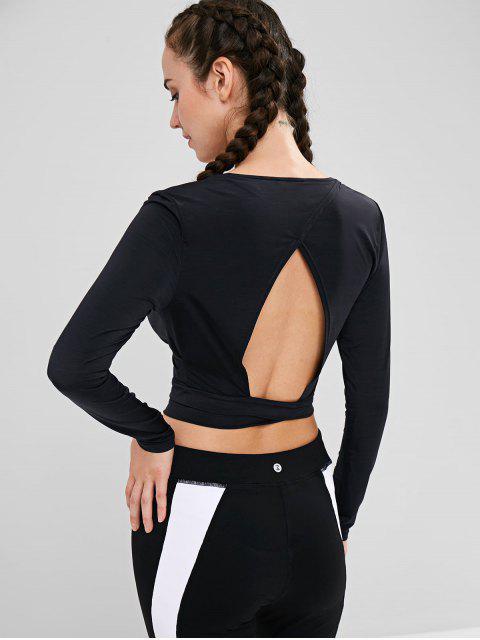 ZAFUL Surplice Open Back Crop T-shirt - Negro S Mobile