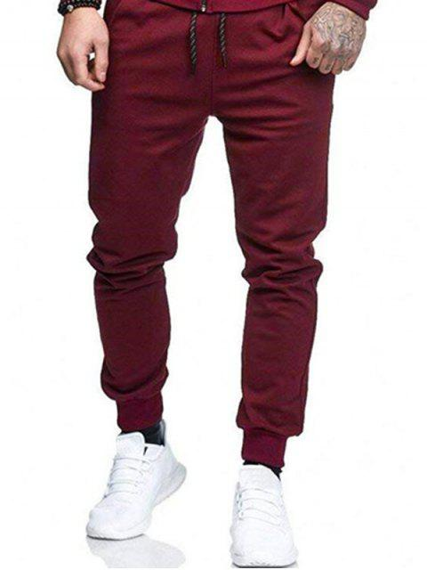 buy Solid Side Pockets Sports Jogger Pants - RED WINE S Mobile