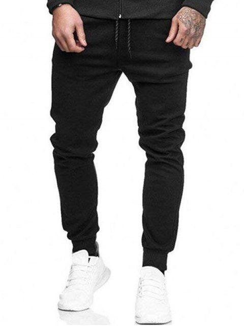 women's Solid Side Pockets Sports Jogger Pants - BLACK S Mobile