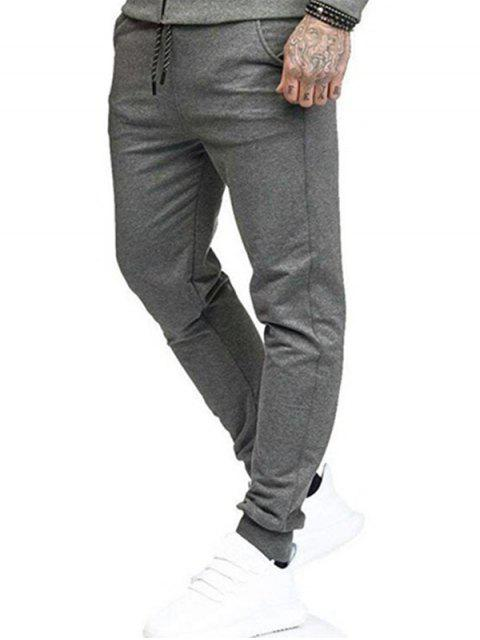 Pantalon Jogging de Sport avec Poches Latérales de Couleur Unie - Gris M Mobile