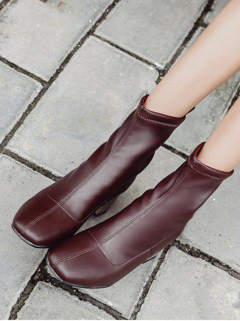 chic Chunky Heel Slip-on Short Boots - BROWN EU 36 Mobile