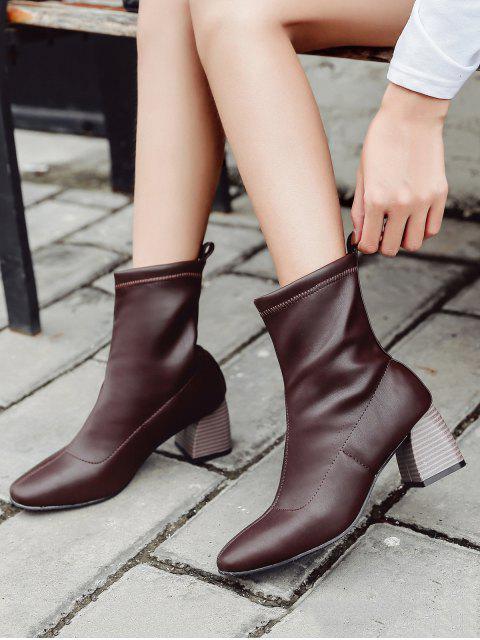 online Chunky Heel Slip-on Short Boots - BROWN EU 37 Mobile