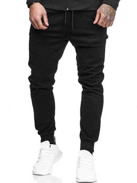 Pantalones Jogger de Color Sólido con Bolsillos Decorativos - Negro S Mobile