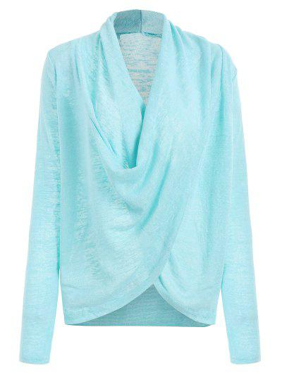 Cross Drape Wrap Sweater - Azure M