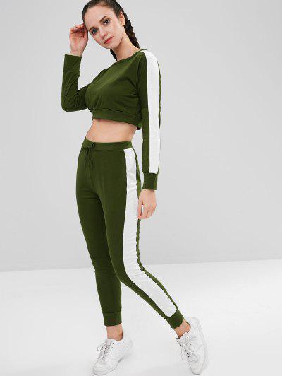 Two Tone Crop Pants Set - Army Green S