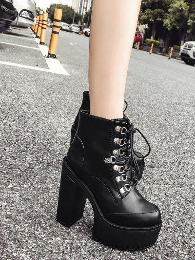 Block Heel PU Leather Platform Short Boots - Black Eu 38
