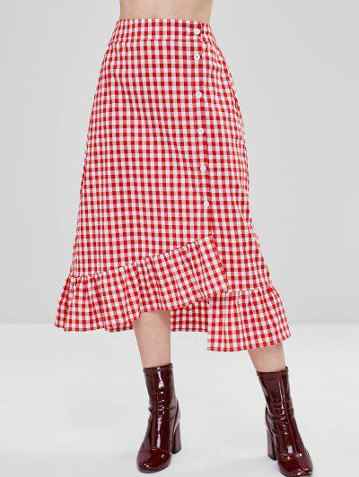 2cc462a34 ZAFUL Button Up Ruffled Trim Gingham Skirt - Multi M ...
