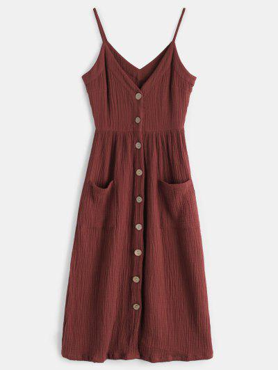 b0e0fde4a65 Cami Button Through Woven Midi Dress - Maroon M ...