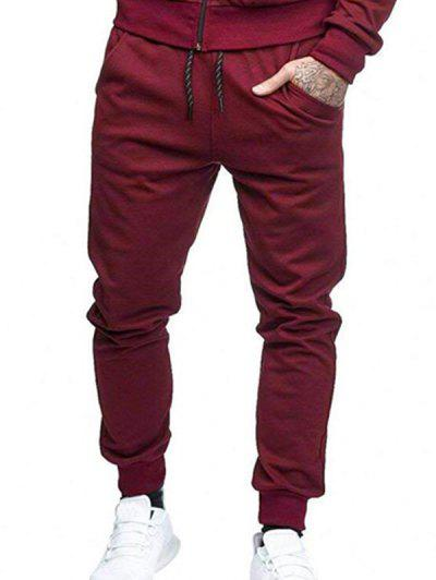Solid Side Pockets Sports Jogger Pants - Red Wine L
