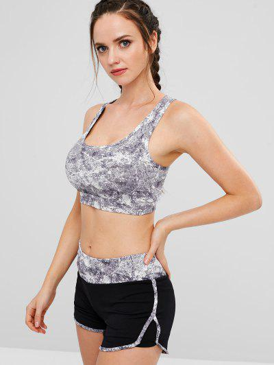 Cut Out Sports Bra and Shorts Set, Gray