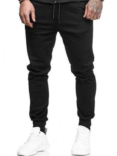 Solid Side Pockets Sports Jogger Pants - Black M