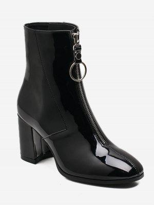 Chunky Heel kurze Stiefel mit Reißverschluss vorne