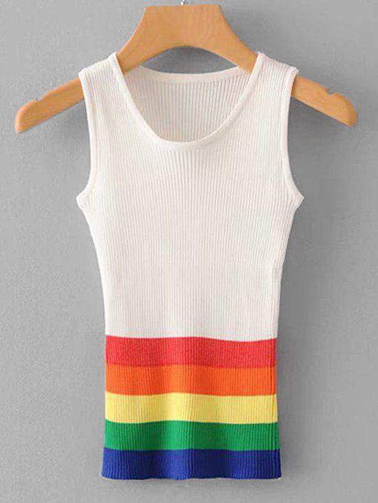 Strips Slim Kintted Tank Top, White