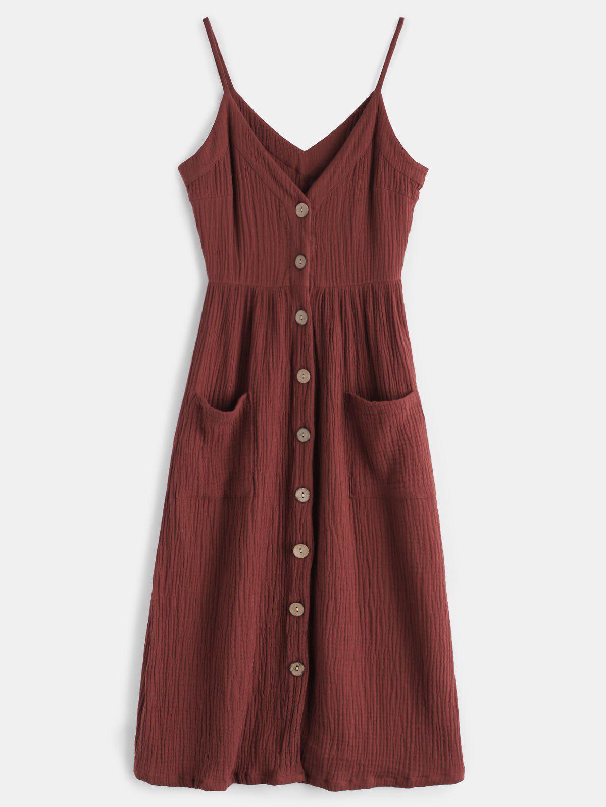 Cami Button Through Woven Midi Dress 280055502