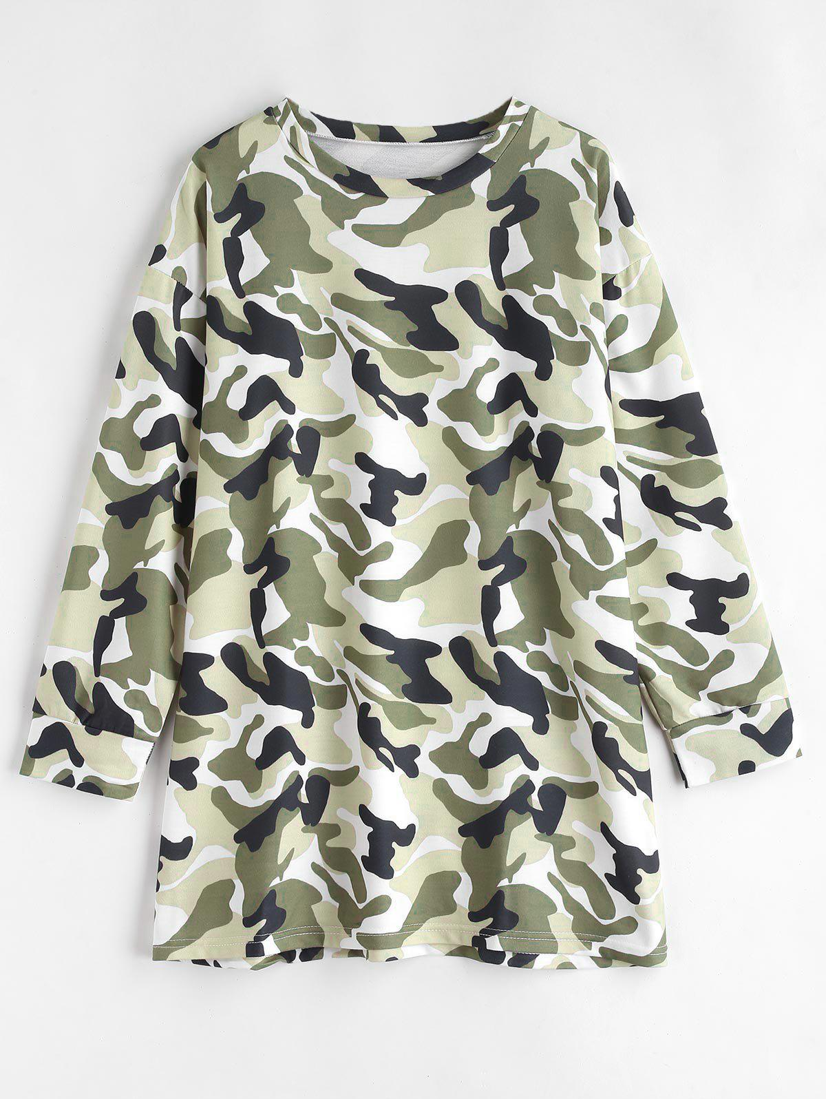 Long Sleeve Camouflage Tee Dress