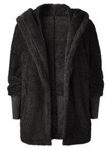 معطف فرو مفتوح من فروست - أسود M