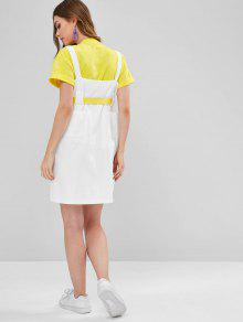 b5110a939f7 68% OFF   HOT  2019 Belted Snap Button Pinafore Dress In WHITE
