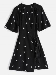 فستان بنمط لف - أسود M