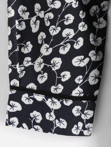 Flores De L De Larga Manga Vestido Negro B57Agq7x