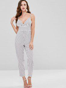 012d5a75e5aa 29% OFF  2019 ZAFUL Striped Spaghetti Strap Backless Jumpsuit In ...