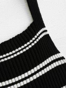 Negro Tank Frill Striped Top Ribbed Xl w0qnfpn6