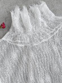 Floral Volantes Top Con Blanco M Encaje See Y Through TUfzCxqaw