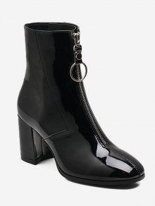 كعب مكتنزة البريدي الجبهة أحذية قصيرة - أسود الاتحاد الأوروبي 37