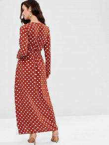b3f3d3695d 29% OFF] 2019 Polka Dot Maxi Surplice Dress In CHERRY RED | ZAFUL ...