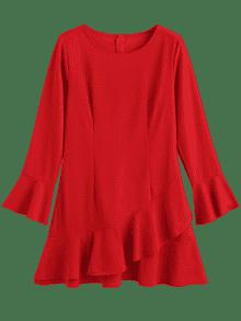 De L Vestido Flounce Cambray Rojo n6xWzO