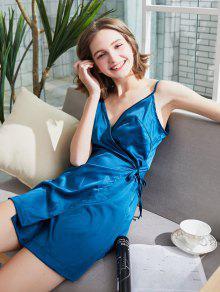 فستان بنمط لف من الساتان - الطاووس الأزرق Xl