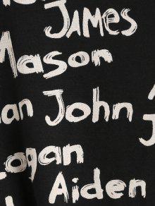 Gr 225;fico Manga De Estampada Larga Con Camiseta Negro Estampado 0xYnw5z
