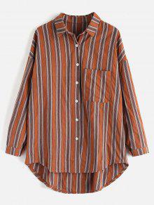 قميص مخطط جيب كبير الحجم - متعدد