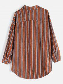Extragrande Rayas Bolsillo Con De A Camisa Multicolor Parche zfgvdqzxw