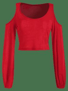 ZAFUL Shoulder Recortada Rojo Hombro S Recortada wqPwOvT