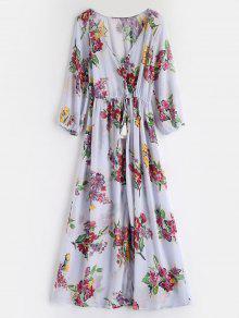 فستان مزين بالزهور - أزرق لافندر S