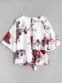 S Blusa S Blusa Anudada Floral Floral Blanco Blanco Floral Anudada Blusa Xva51qnw