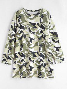 De Vestido Multicolor Camuflaje L Larga Manga De q7ORt