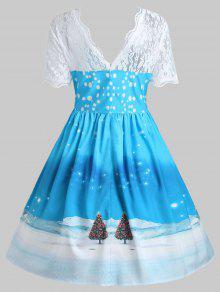 vintage christmas santa claus print lace insert dress - Vintage Christmas Dress