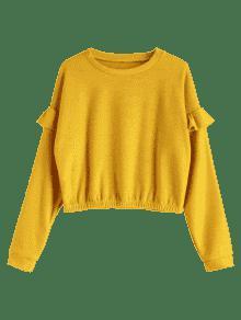 Volantes M Brillante Sudadera Sueltos Amarillo Con 5fTqqIX