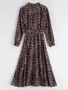 Vestido Cintur Con Leopardo Leopardo 243;n Y L Estampado Largo De B0BarWO