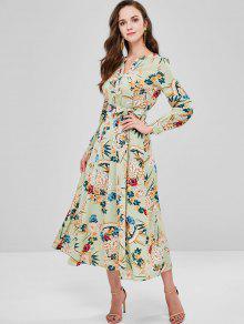 الأزهار طويلة الأكمام فستان ماكسي - متعدد S